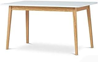 Selsey Veneer - Table Extensible/Table à Manger Extensible (Blanc/Bois de chêne, 140-180x80cm)