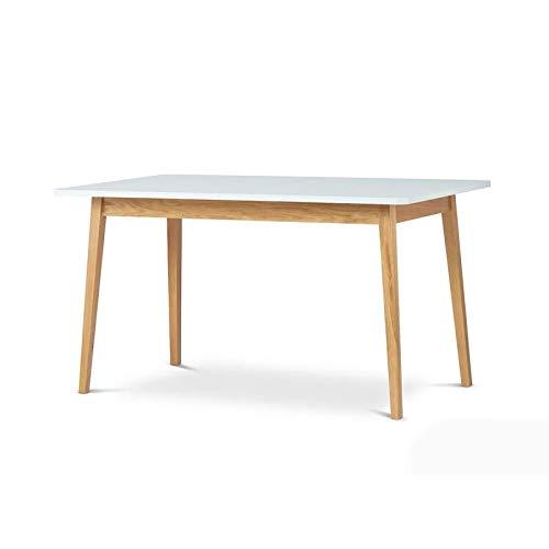 Selsey Veneer - Tavolo da Pranzo/Tavolo Allungabile/Design Salvaspazio/Tavolo Estensibile (140x80 cm, Bianco/Quercia)