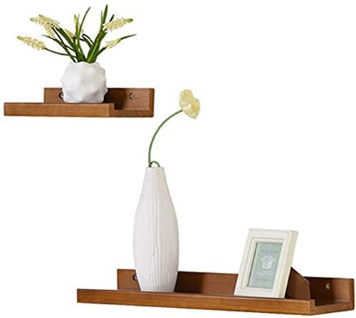 HJW Praktische opbergrek hout opknoping drijvende planken voor thuis decoratieve sets van 2 wandplank plank display rek voor plant pot wekker fotolijst decoratie cadeau 1Huiyang-01020, bruin