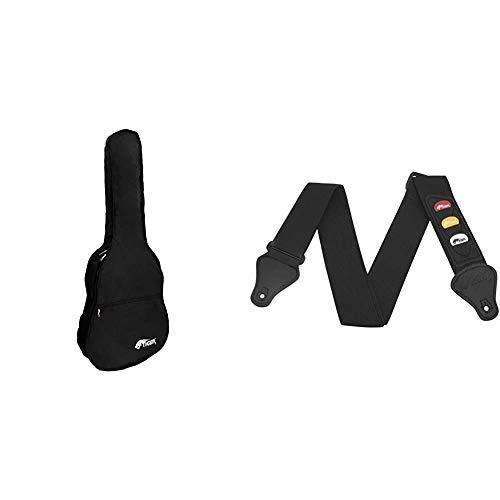 Tiger GGB7-MCL - Funda para guitarra clásica tamaño 3/4 + STP4-BK Correa para guitarra con porta púas, soporta hasta 3 púas, color negro