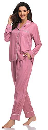 SHEKINI Pijamas Mujer 2 Piezas Conjunto de Tops y Pantalones Pijamas Botones Casual con Bolsillo Delantero