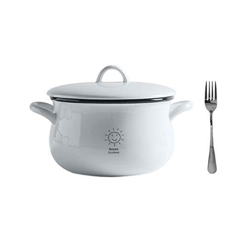 Soup Bowl Met Handvat Bowl Noodles Soepterrine Cup Deksel Range Keramische Glas Porcelain White