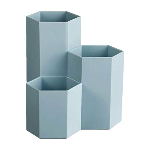Voarge Portalápices de escritorio de plástico para oficina, 3 vasos, portalápices, portalápices (azul)