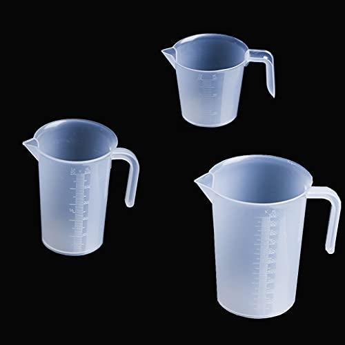 Misurino Liquido in Plastica 3 Pezzi / Set Brocche Misurino Misurino Graduato Trasparente Adatto per Cucine, Panifici, Pasticcerie, per Pesare Liquidi e Succhi (1L 500ML 250ML)