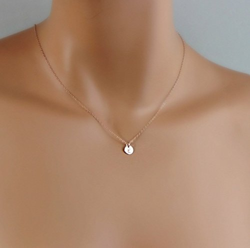 Tiny Rose Gold Initial Necklace, Dainty Monogram Charm Trendy Jewelry, Bridesmaid Gifts, Flower Girl, Personalized Minimalist Necklace