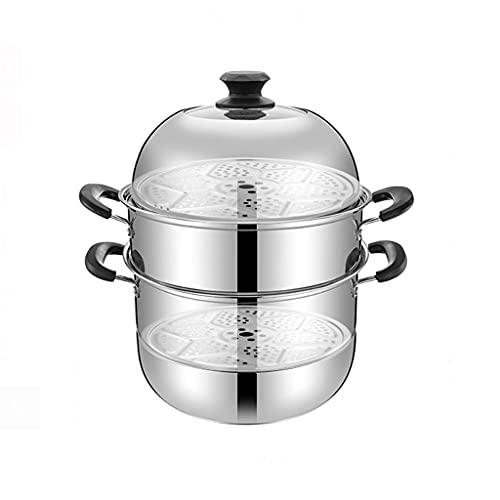 Olla de vapor de gran capacidad de acero inoxidable 304, apta para lavavajillas, con tapa de cristal templado y mango de baquelita (tamaño: 30 cm)