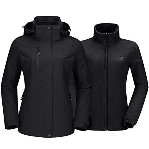 CAMEL Outdoor Jacket Women Winter Ski Jacket Windbreaker 3 in 1 Waterproof Hooded Rain Coat