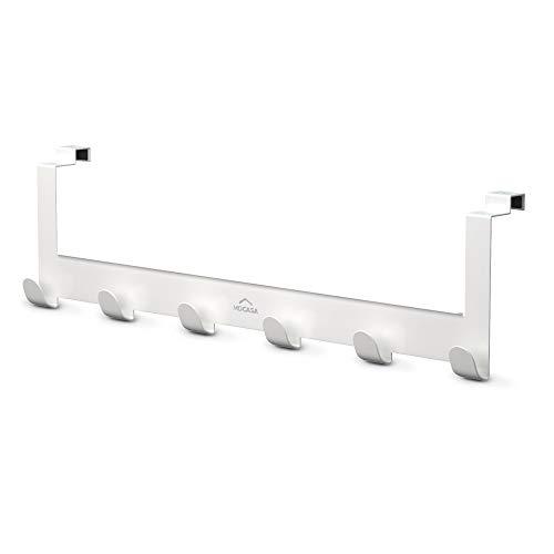 MDCASA Türgarderobe lang für die Rückseite weiß - Hakenleiste Tür - Handtuchhalter Bad - Türhängeleiste - Türhakenleiste - 520 x 145 x 68 mm
