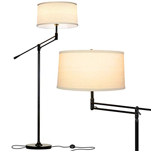 brightech desk lamps Brightech Ava Industrial Floor Lamp - Standing Lamp for Bedroom That Matches Your Farmhouse, Rustic Style - Height Adjustable,Tall Pole Lamp for Living Room Lighting - Elegant Light for Office