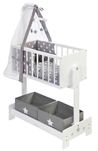 SUN Große Puppenwiege mit Nestchen, Bettzeug, Mobile und Stoffboxen (Weiß-Grau)