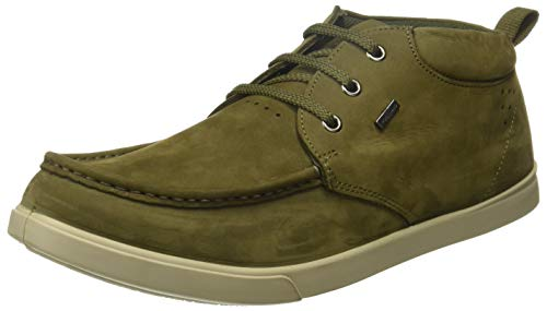 Woodland Men's Olive Green Leather Sneakers-5 UK/India (39 EU) (GC 2174116HKA)