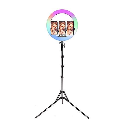 JWWS 14' Aro De Luz LED Regulable, Anillo De Luz RGB, Luz De Maquillaje, con Trípode Y Soporte para Teléfono Control Remoto, para Movil Selfie Youtube Transmisión En Vivo Grabación De Vídeo Vlog