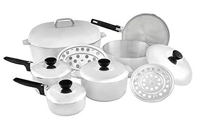 IMUSA USA Heavy Duty 13-Piece Cast Aluminum Cajun Cookware Set, Silver