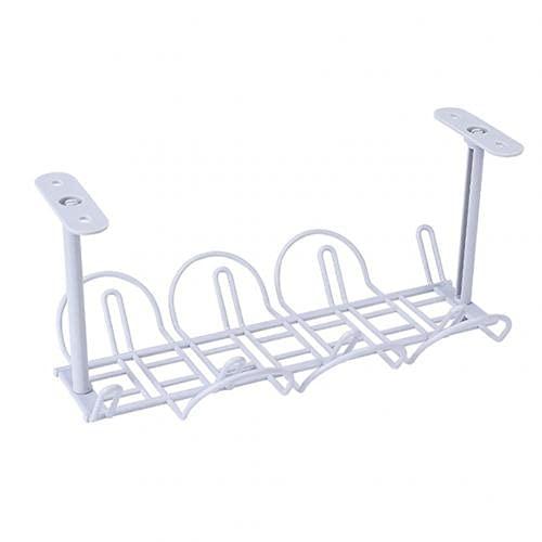XINYI Estante de almacenamiento para colgar debajo de la mesa, organizador de cables ideal para guardar objetos pequeños debajo de la mesa, (color: blanco)