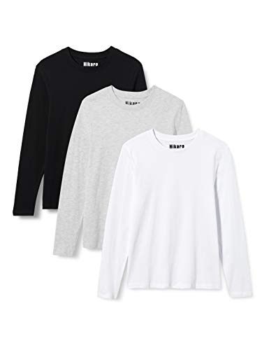 HIKARO HIK0037AW t-Shirt, Mehrfarbig (Schwarz/Weiß/Grau), 18, 5er-Pack