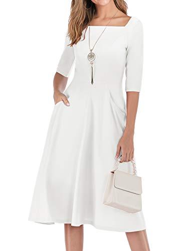 Gardenwed Damen Kleid 1950er Vintage Rockabilly Faltenrock Kleider mit Taschen Midi Cocktailkleid Abendkleider White L