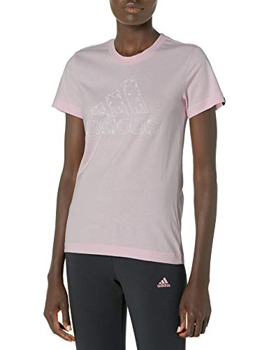 adidas womens OUTLFLORAL Graphic Tee Clear Pink Large