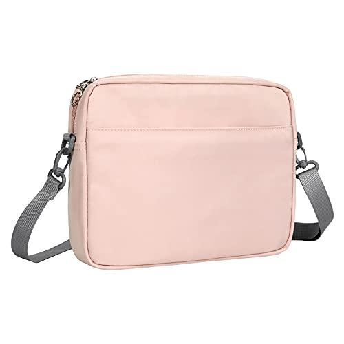 MoKo 12.9 Zoll Schutzhülle Tasche für Tablet, Tablet Tasche mit Mehrere Fächer und Verstellbarer Schultergurt, Aufbewahrungstasche Kompatibel mit iPad Pro 12.9 M1 2021, iPad Pro 12.9 2020/2018, Rosa