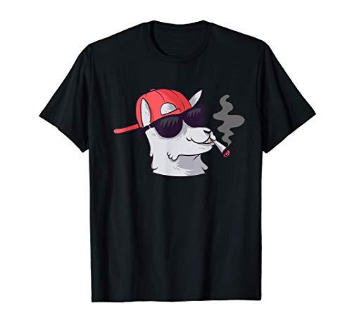 Cooles rauchendes Alpaka mit Sonnenbrille Kiffer T-Shirt
