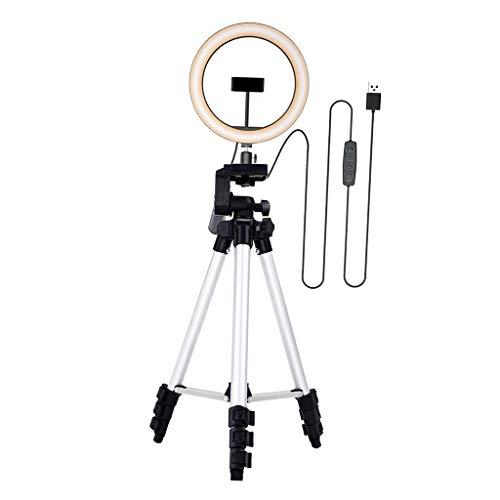 ZNBJJWCP Kit de luz de Anillo LED con trípode Stand Dimmable para Maquillaje 3 Modos 10 Brillo en Vivo transmisión de Video transmisión de Video (Color : Silver)