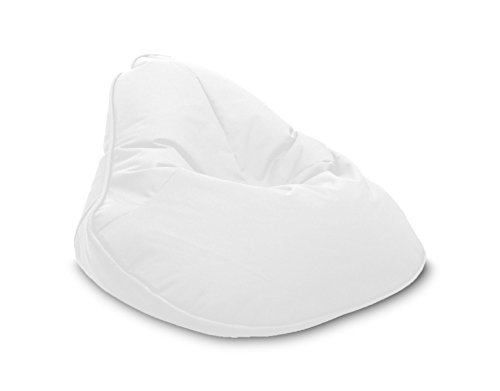 Pouf Beanbag Fleur Polyester Imperméable pour extérieur 120 x 80 cm Blanc