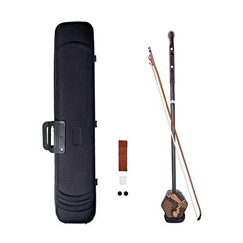 ABMBERTK Hölzerner Erhu, chinesische 2-saitige Geigenvioline, Huqin-Saiteninstrument, sechseckige Form aus Palisander, mit Bogenbrücken, Palisander