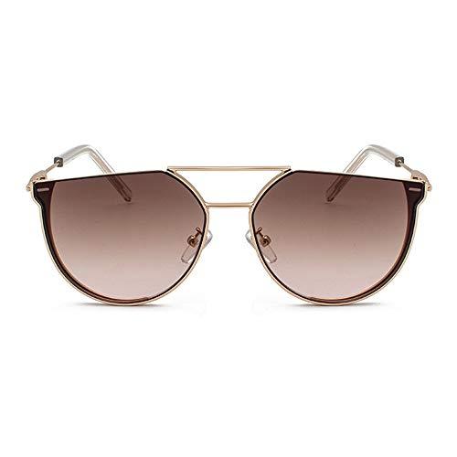 QCSMegy Gafas de Sol Nueva Personalidad Semicírculo Gafas De Sol Moda Mujer Metal Retro Gafas Hombres Marrón Lente Degradada Marco Dorado Protección UV400