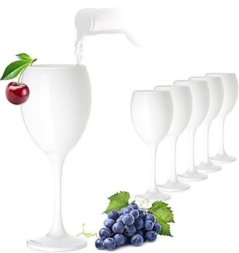 PLATINUX Weiße Weingläser Set 6 Teilig 320ml aus Glas massiv Getränkeglas Weißweingläser Rotweingläser Trinkglas