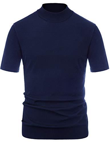 PJ PAUL JONES Men's Short Sleeves Knitting Pullover Sweater Mock Turtleneck Shirt Navy, L