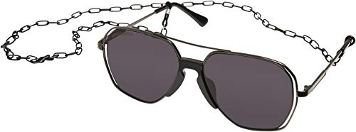 Urban Classics Sunglasses Karphatos with Chain Gafas, gris y negro, Talla única Unisex Adulto