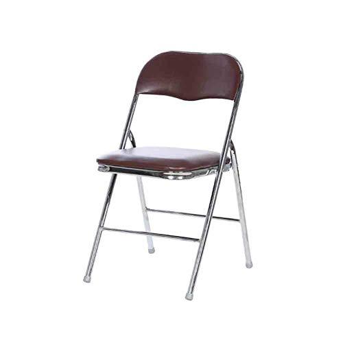 Sunny Galvanisieren-Klappstuhl-Haushalts-Lehnsessel-Computer-Stuhl-Geschäfts-Büro-Ausbildungs-Personal-Stuhl (Farbe : Kaffee - Farbe)