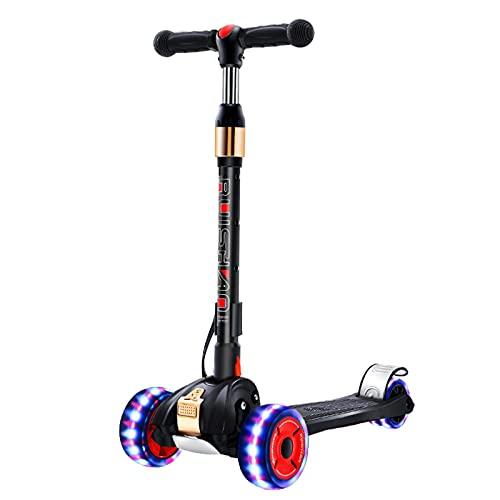 PTHZ Scooter de Tres Ruedas para niños, Scooter Plegable Ajustable en Altura, con Ruedas de Flash PU y Cubierta Extra Ancha, niños y niñas para niños pequeños,Negro