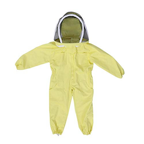 Trajes de apicultura para niños, puro algodón con protección de todo el cuerpo ventilado, equipo de equipo de protección contra el velo del visitante de Bee Farm Jumpsuit (METRO)
