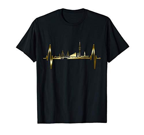 Hamburg Skyline Herzschlag Hamburger Hafen Herz Fan Hamburg T-Shirt