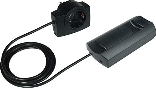 EHMANN 2620x0709 09 snoerdimmer T26.07 zwart met tussenstekker, faseuitsnijding, 230 V, 50 Hz, vermogen: LED 3-35 W, 7-110 W/VA