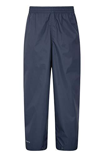 Mountain Warehouse Pakka wasserfeste Kinder-Überhose - atmungsaktiv, versiegelte Nähte, Klettverschluss am Hosenbein, verstaubar - bei nassem Wetter, Frühling Marineblau 116 (5-6 Jahre)