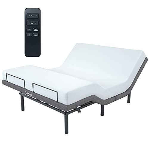 Loyo Adjustable Bed with Wireless Remote, Adjustable Bed Base Frame Queen Size with Zero Gravity, Anti-Snore, Adjustable Leg, Mattress Rail, Cozy and Multifuction, Easy to Assembly