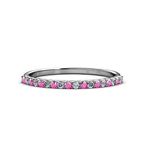 TriJewels Pink Sapphire and Diamond 1.5mm 18 Stone Wedding Band 0.28 Carat tw in 14K White Gold.size 6.0 (0.28 Ct Pink Diamond)