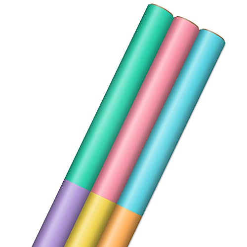 Hallmark Bright Pastel Wrapping Paper with Cutlines on Reverse (3 Rolls: 75 sq. ft. ttl) for Birthdays, Baby Showers, Easter