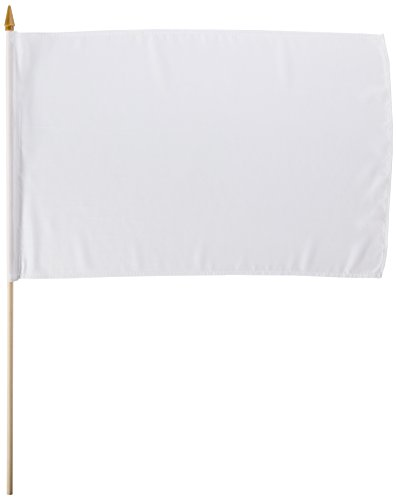 "Quality Standard Flags STIBwhite One Dozen White Stick Flag, 12 by 18"""