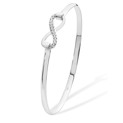 Aeon Sterling Silver White Cubic Zirconia Detail Infinity Bangle Super Thin & Strong - Simple Charm Christmas Day Jewellery - Birthday Gift for Girls and Women - 57mm * 2mm