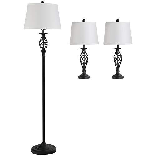 HOMCOM 3er-Lampenset 2 Tischlampe(ø38 x 158H cm) + 1 Stehlampe(ø30 x 62H cm) Metall, PS, Polyester, Baumwolle, Vintage, Schwarz+Weiß