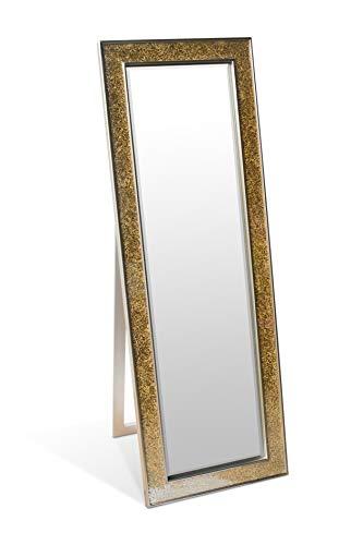 Espejos Decorativos - Espejo Pared Plata - Madera sólida - Grande - 130 x 45 cm - Color Dorado