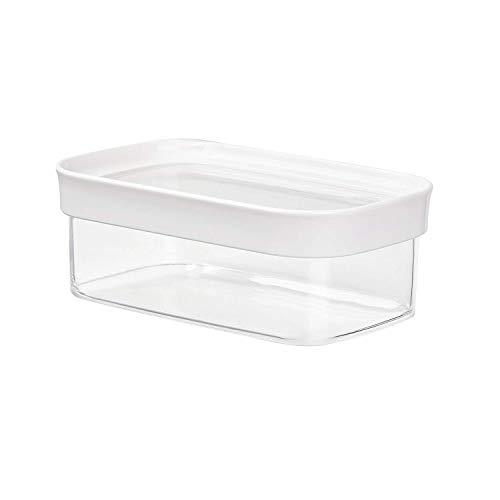 Emsa 513556 Stapelbare Vorratsdose für Trockenvorräte, 100 % Keimfrei, Volumen 0.45 Liter, Rechteckig, Weiß/Transparent, Optima