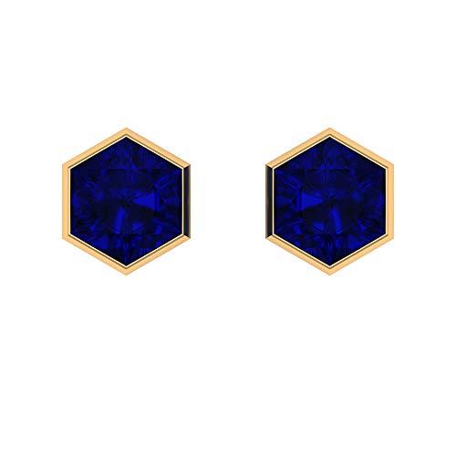 Pendientes de piedra preciosa solitario, pendientes hexagonales, 4,5 CT 8 mm creado en laboratorio, pendientes de zafiro azul, pendientes de boda, pendientes de dama de honor, 18K Oro amarillo, Par
