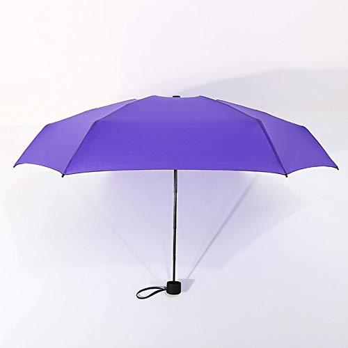 Mdsfe 180g pequeño Paraguas Plegable de Moda Lluvia Mujeres Regalo Hombres Mini Bolsillo Parasol niñas Anti-UV Impermeable portátil ViajesParaguas - púrpura, a2