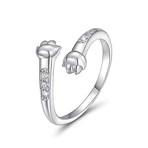 CRYSLOVE Umarmende Hände Ring Damen Schmuck Silber 925 Verstellbar Cute Katzenpfote Hand offene Finger Ring,Muttertagsgeschenk