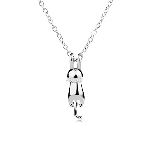 2 Art Silber 3D niedliche Katze Matte Oberfläche / glatte Miezekatze hängende Halskette Geschenk für Familien Freunde Schwester (glatte)
