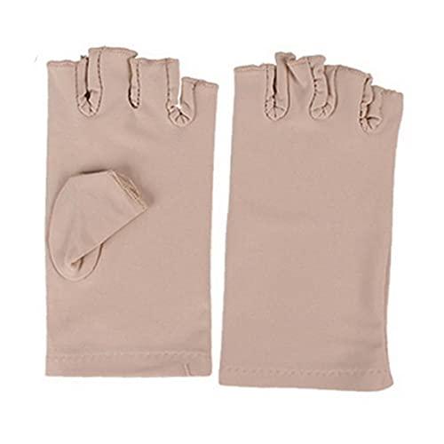 EElabper Secador de Manos de uñas Anti protección UV Manguitos de lámpara de la radiación UV Pantalla sin Dedos Mangas Mano Uña Manicura Herramientas 1 par Beige