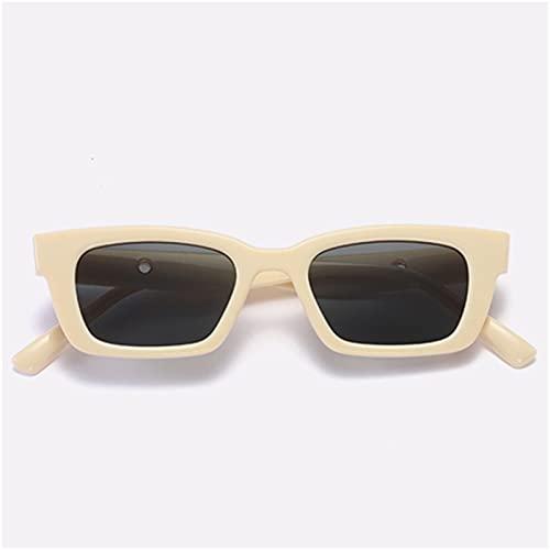 FDNFG Gafas de Sol pequeñas rectangulares Mujeres Vintage Square Sun Sombras Sombras Femeninas UV400 Gafas de Sol (Lenses Color : Beige)